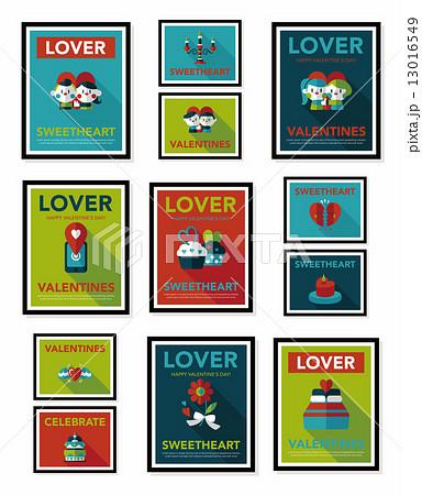Valentine***s Day poster flat banner design flat background set, 13016549
