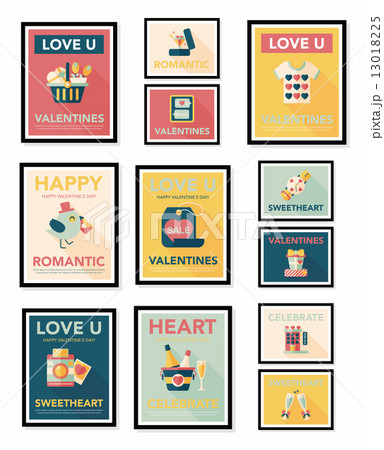 Valentine***s Day poster flat banner design flat background set, 13018225