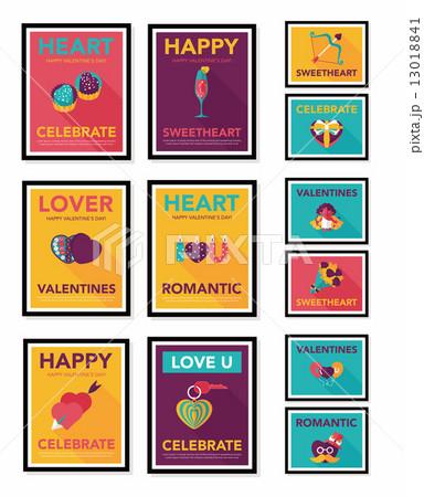 Valentine***s Day poster flat banner design flat background set, 13018841