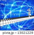 ピアノの鍵盤の上を歩いて行くビジネスマン 13021229
