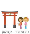 初詣 女性 着物 成人式 神社 13028393