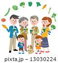 ベクター 三世代 野菜のイラスト 13030224