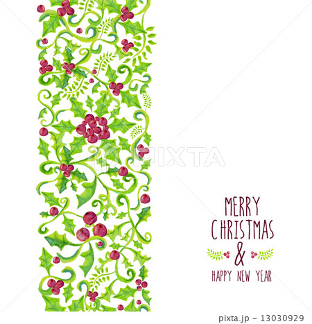 Merry Christmas watercolor holly berry patternのイラスト素材 [13030929] - PIXTA