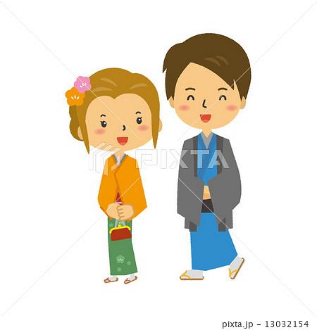 カップル 着物 袴 振袖 男性 女性 13032154