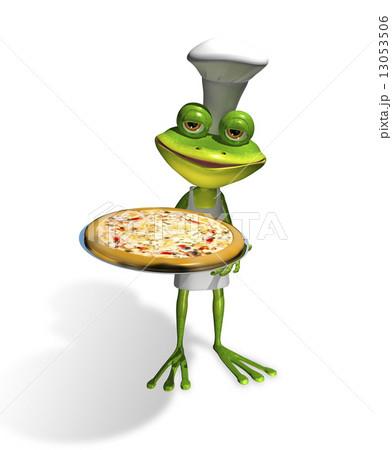 frog chef with pizzaのイラスト素材 [13053506] - PIXTA
