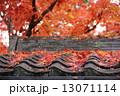 瓦 紅葉 落ち葉の写真 13071114