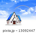 ソーラーパネル 虹 家のイラスト 13092447