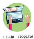 キーボード 手先 コンピュータのイラスト 13099836