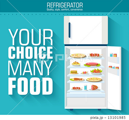 Flat fridge full of many food background concept. Vector illustrのイラスト素材 [13101985] - PIXTA