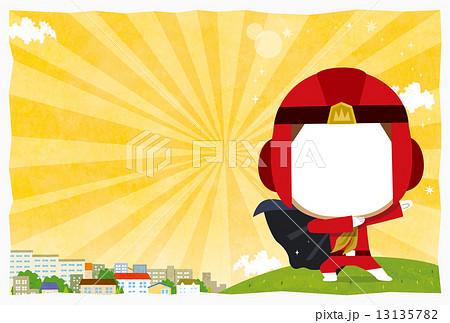 男の子向け 写真ハメ込み出産ハガキ黄色 文字なしのイラスト素材