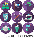 Circle flat vector icons for golf 13144869