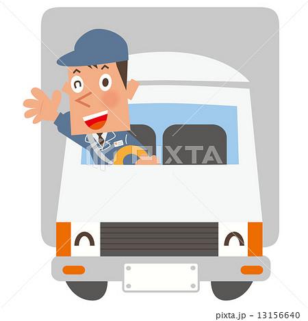 車_作業着の男性を載せた大きめのトラック 13156640