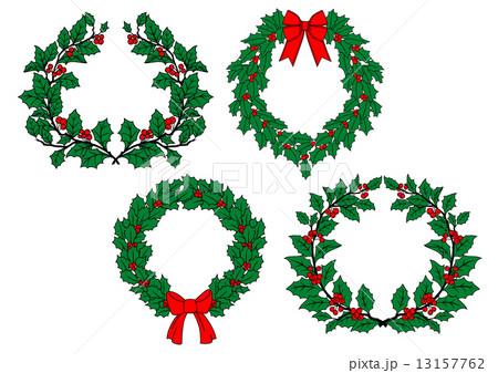 Christmas holly wreaths setのイラスト素材 [13157762] - PIXTA