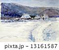 世界遺産 水彩画 雪景色のイラスト 13161587