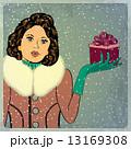 クリスマス 女性 レトロのイラスト 13169308
