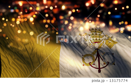 Vatican National Flag Light Night Bokeh Abstract Background 13175774