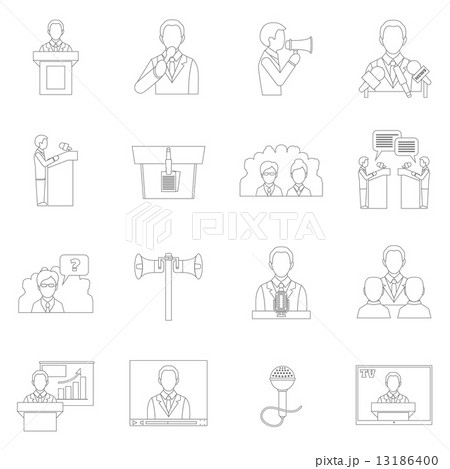 public speaking icons outlineのイラスト素材 13186400 pixta