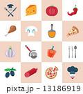 アイコン ピザ屋 セットのイラスト 13186919