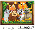 A wooden frame with animals 13190217