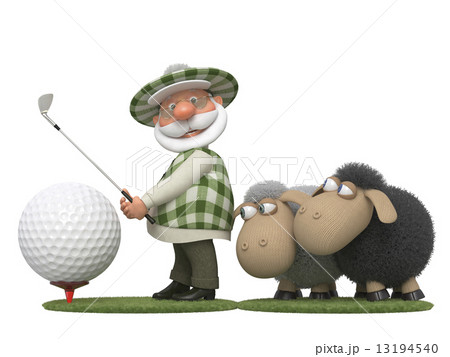 The 3D golfer with lambsのイラスト素材 [13194540] - PIXTA