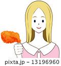 フライドチキン チキン 女性のイラスト 13196960