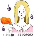 フライドチキン 人物 女性のイラスト 13196962