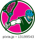Lacrosse Player Crosse Stick Circle Retro 13199543