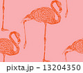 vector vintage illustration of a pink flamingo. seamless animal pattern 13204350