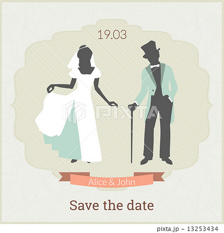save the date card template with bride and groom in retro styleの