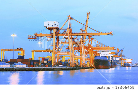 beaitiful landscape of heavy crane tool in ship port and contain 13306459