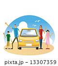 ドライブ 親子 ファミリーのイラスト 13307359