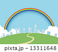 街並み 街 虹のイラスト 13311648