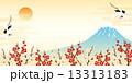 富士山と紅白の梅と鶴 13313183