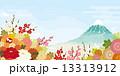 富士山と青空と満開の花 13313912