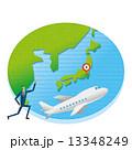 東京 飛行機 地球のイラスト 13348249