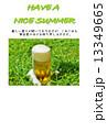 暑中見舞いテンプレート・草上にこぼれるグラスビールの泡・横書き黄緑文字「HAVE A NICE SUMMER」黒文字コメントあり縦位置 13349665