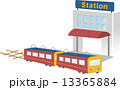 電車と駅ビル 13365884
