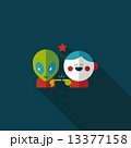 Space alien and boy friendship flat icon with long shadow,eps10 13377158