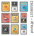 Space poster banner flat design background set, eps10 13380562