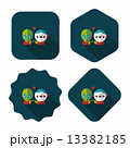 Space alien and boy friendship flat icon with long shadow,eps10 13382185