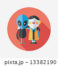 Space alien friendship flat icon with long shadow,eps10 13382190