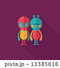 Space alien friendship flat icon with long shadow,eps10 13385616