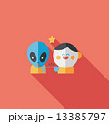 Space alien and boy friendship flat icon with long shadow,eps10 13385797