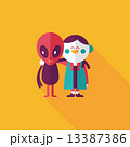 Space alien friendship flat icon with long shadow,eps10 13387386