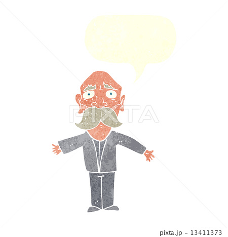cartoon disapointed old man with speech bubbleのイラスト素材 [13411373] - PIXTA