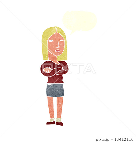 cartoon woman with folded arms with speech bubbleのイラスト素材 [13412116] - PIXTA