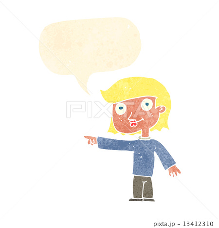 cartoon pointing person with speech bubbleのイラスト素材 [13412310] - PIXTA
