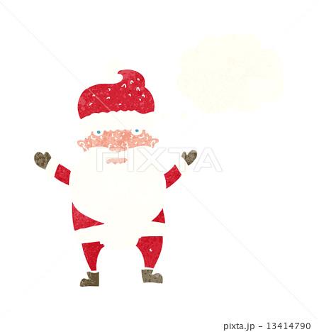 cartoon grumpy santa with thought bubble 13414790