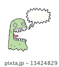 cartoon gross ghost with speech bubble 13424829