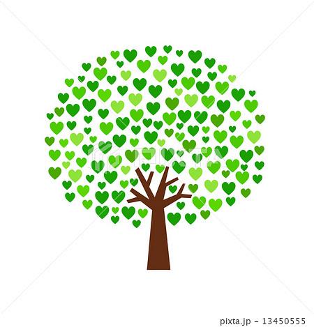 ハートの緑の木のイラスト素材 13450555 Pixta